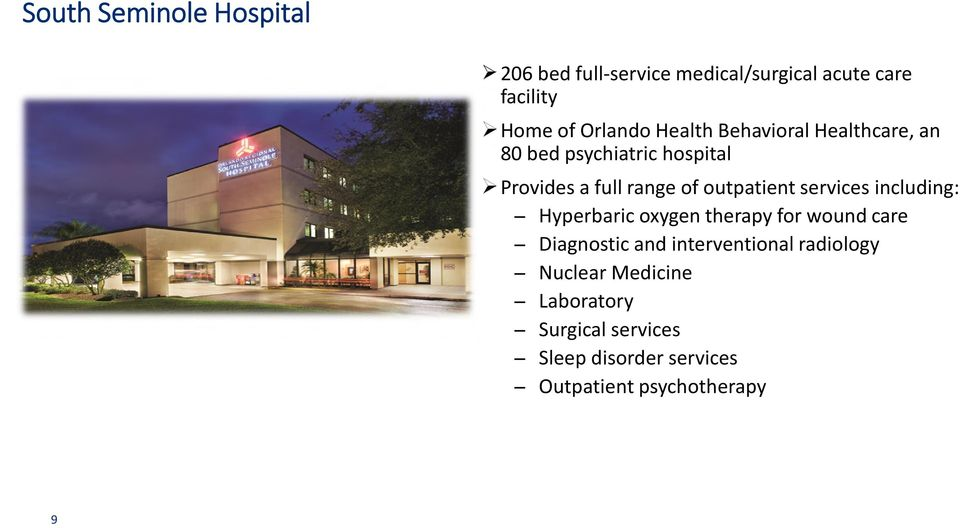 services including: Hyperbaric oxygen therapy for wound care Diagnostic and interventional
