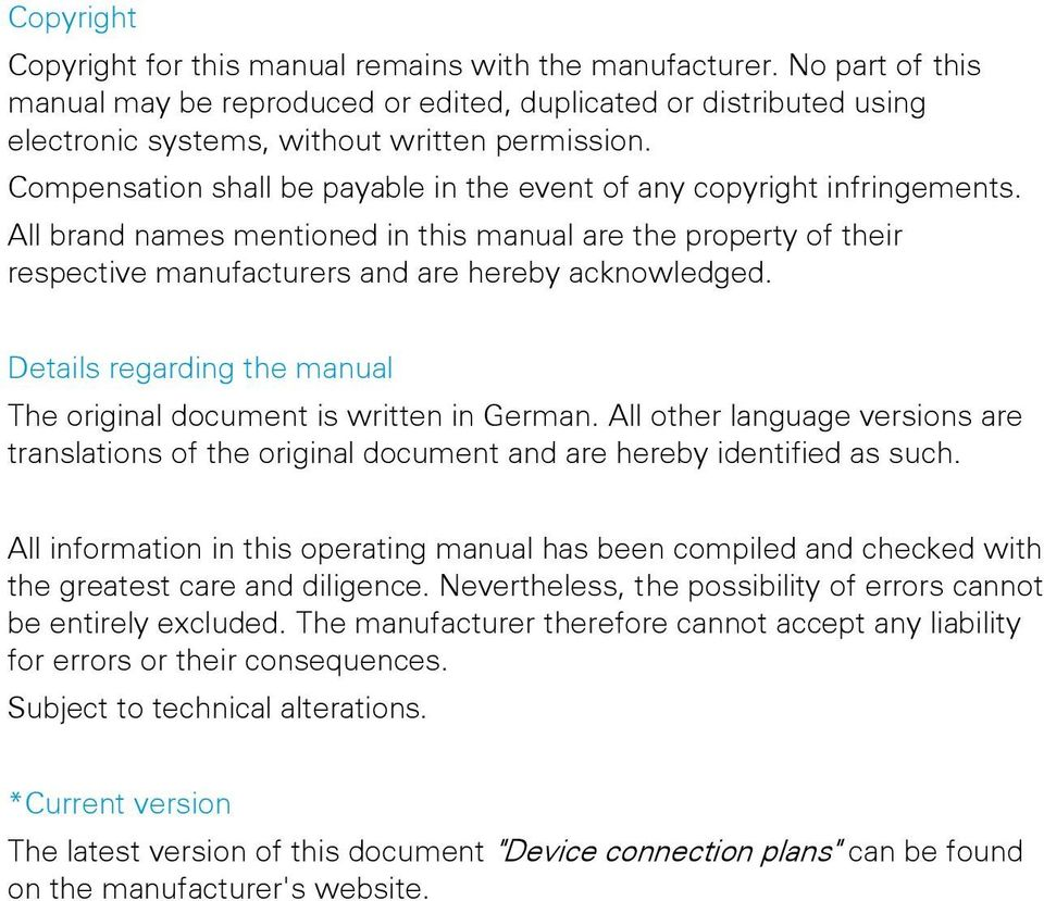 Details regarding the manual The original document is written in German. All other language versions are translations of the original document and are hereby identified as such.