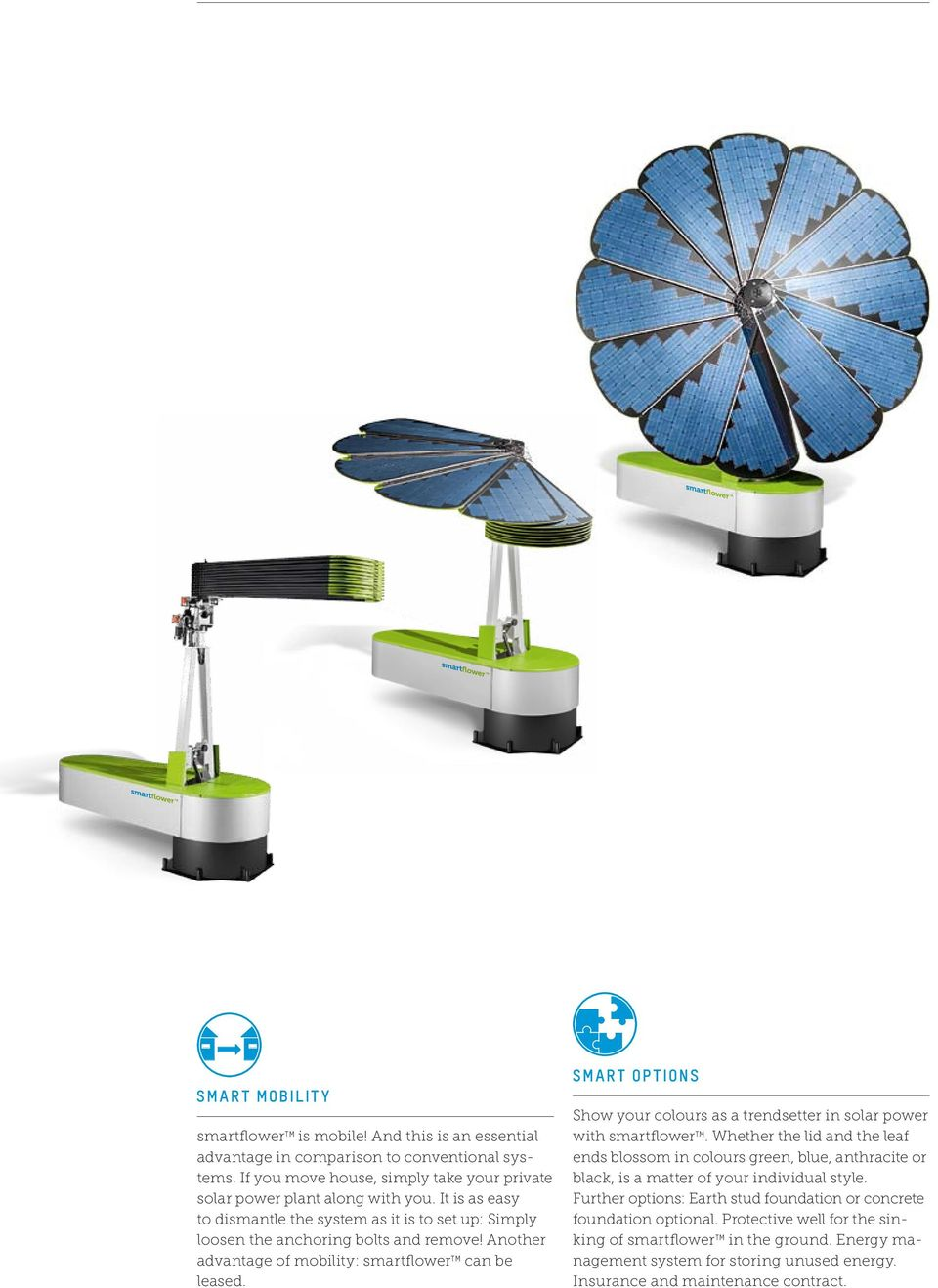SMART OPTIONS Show your colours as a trendsetter in solar power with smartflower TM.