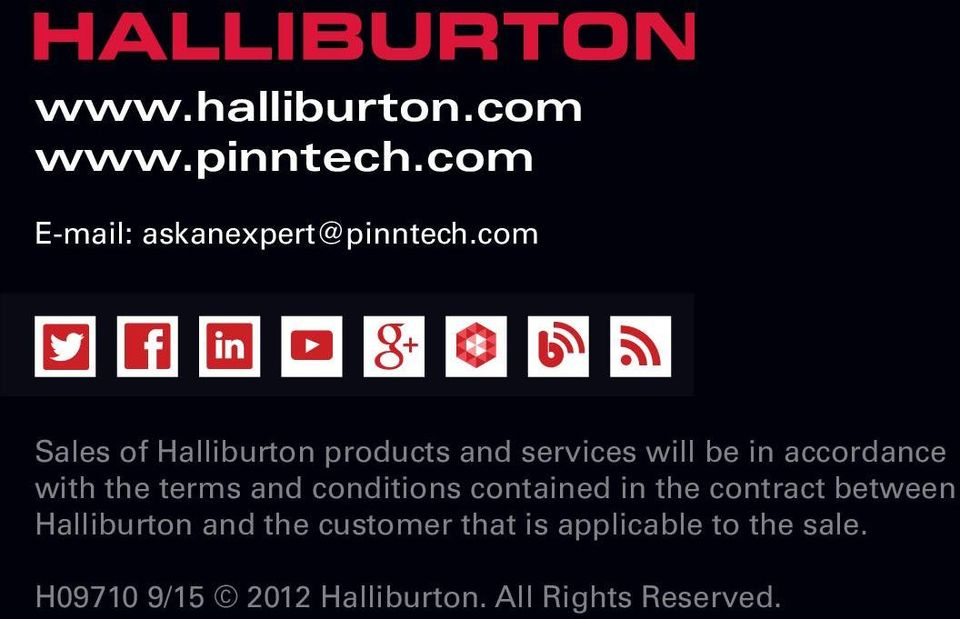 terms and conditions contained in the contract between Halliburton and the