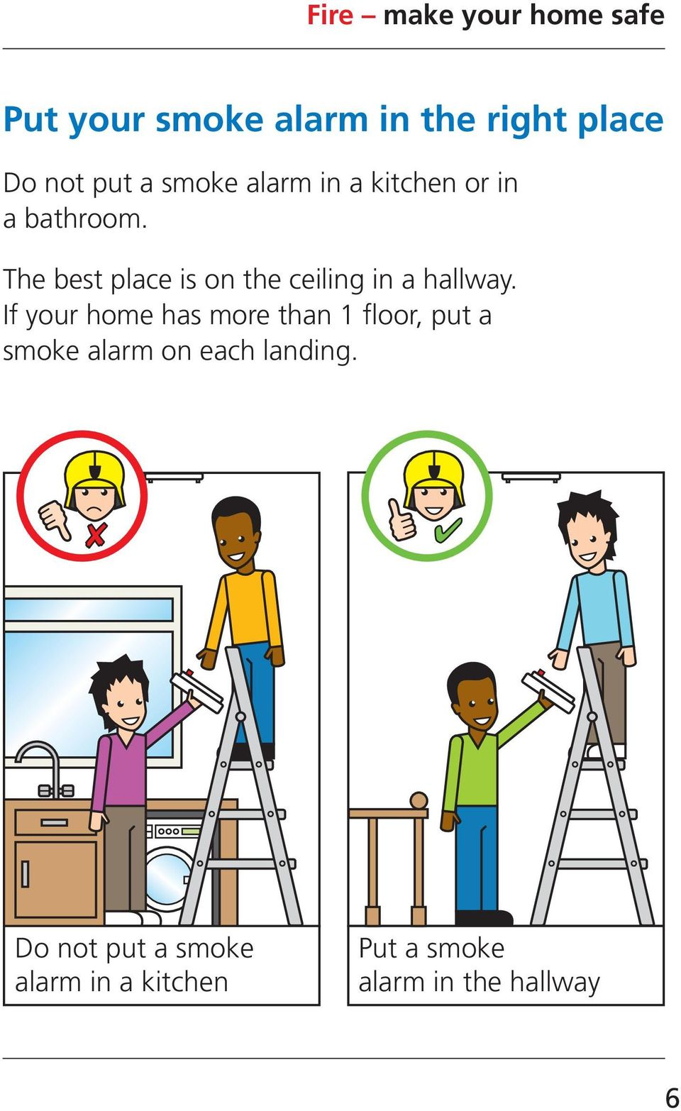 If your home has more than 1 floor, put a smoke alarm on each landing.