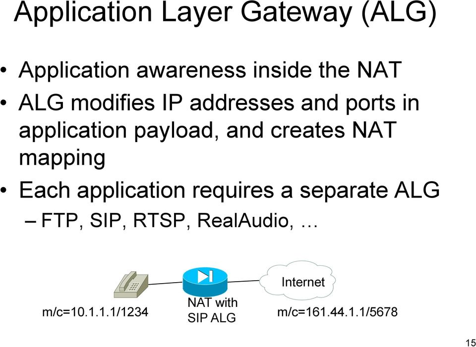 NAT mapping Each application requires a separate ALG FTP, SIP, RTSP,