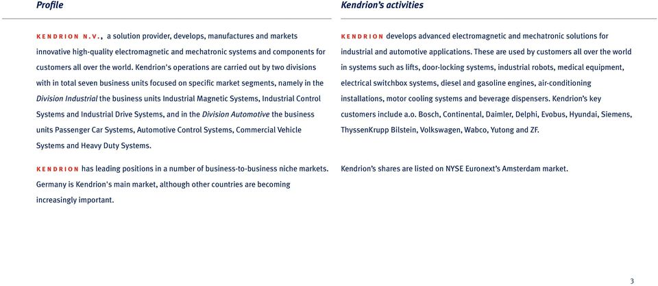 Systems, Industrial Control Systems and Industrial Drive Systems, and in the Division Automotive the business units Passenger Car Systems, Automotive Control Systems, Commercial Vehicle kendrion