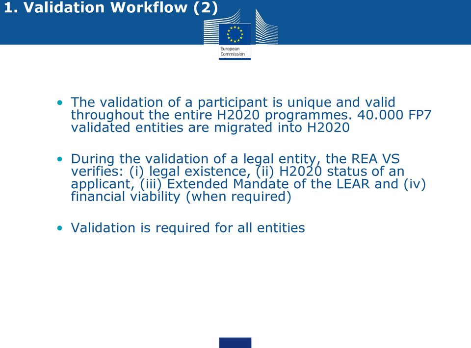 000 FP7 validated entities are migrated into H2020 During the validation of a legal entity, the REA VS