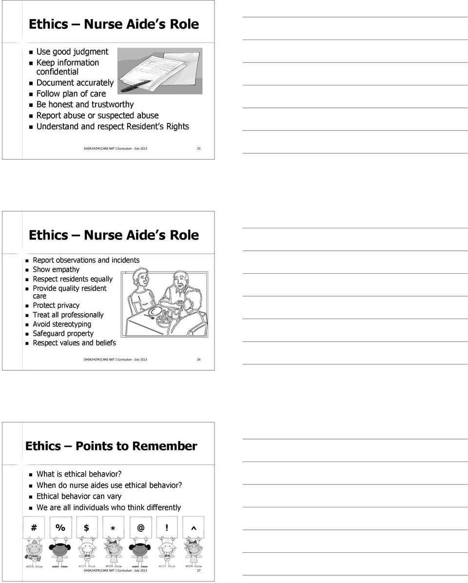 resident care Protect privacy Treat all professionally Avoid stereotyping Safeguard property Respect values and beliefs DHSR/HCPR/CARE NAT I Curriculum - July 2013 26 Ethics Points to