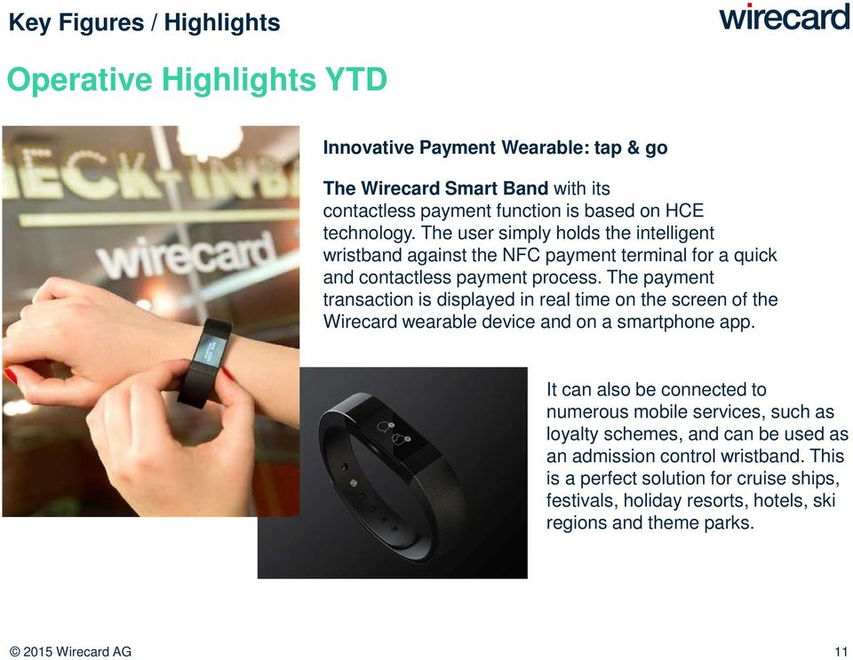 The payment transaction is displayed in real time on the screen of the Wirecard wearable device and on a smartphone app.