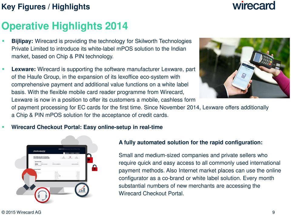 Lexware: Wirecard is supporting the software manufacturer Lexware, part of the Haufe Group, in the expansion of its lexoffice eco-system with comprehensive payment and additional value functions on a