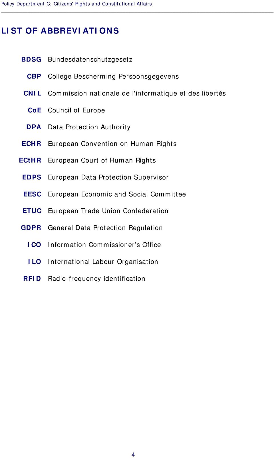 ECtHR European Court of Human Rights EDPS European Data Protection Supervisor EESC European Economic and Social Committee ETUC European Trade Union