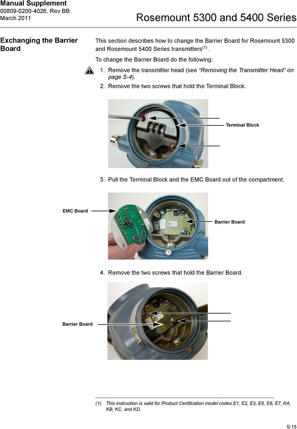 Remove the transmitter head (see Removing the Transmitter Head on page S-4). 2. Remove the two screws that hold the. 3.
