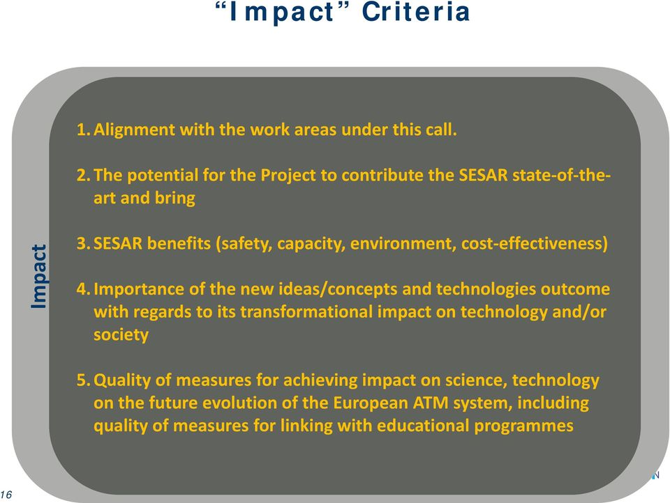 SESAR benefits (safety, capacity, environment, cost effectiveness) 4.