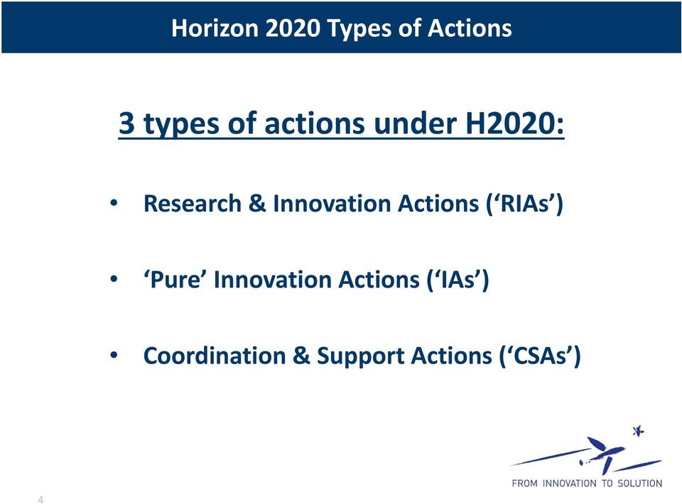 Actions ( RIAs ) Pure Innovation Actions (