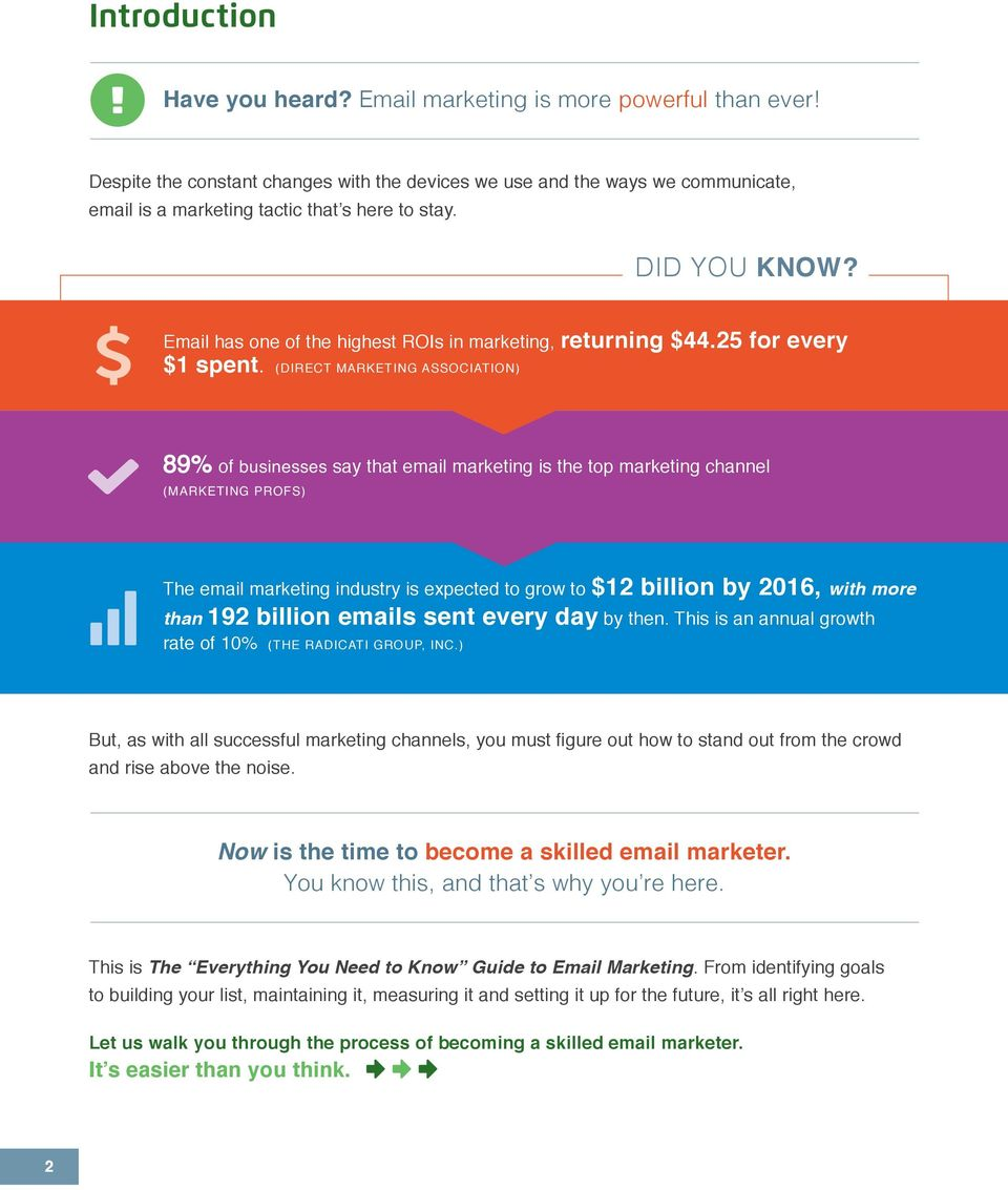 Email has one of the highest ROIs in marketing, returning $44.25 for every $1 spent.