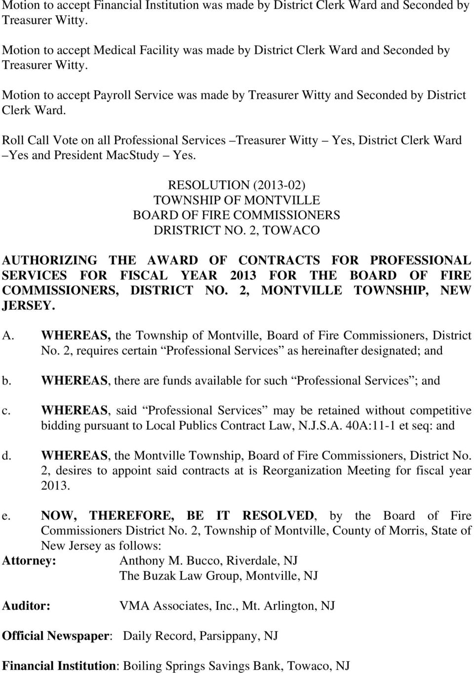 RESOLUTION (2013-02) TOWNSHIP OF MONTVILLE BOARD OF FIRE COMMISSIONERS DRISTRICT NO.