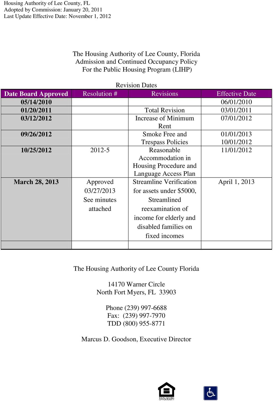 Accommodation in Housing Procedure and Language Access Plan March 28, 2013 Approved 03/27/2013 See minutes attached Streamline Verification for assets under $5000, Streamlined reexamination of income