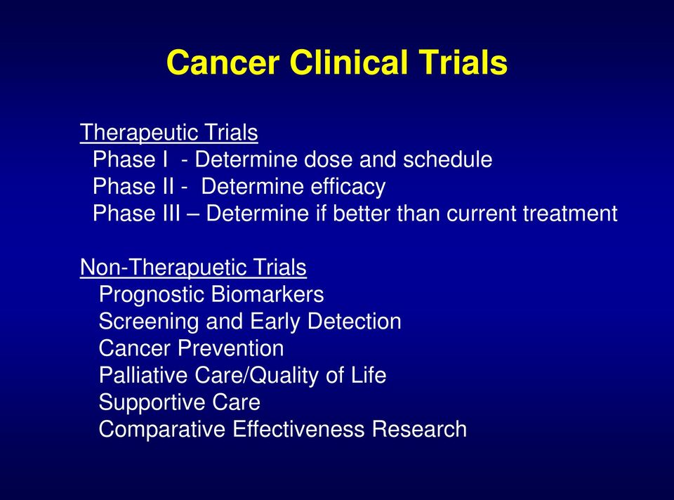 Non-Therapuetic Trials Prognostic Biomarkers Screening and Early Detection Cancer