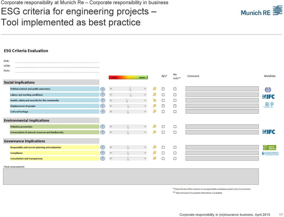 ESG criteria for engineering projects