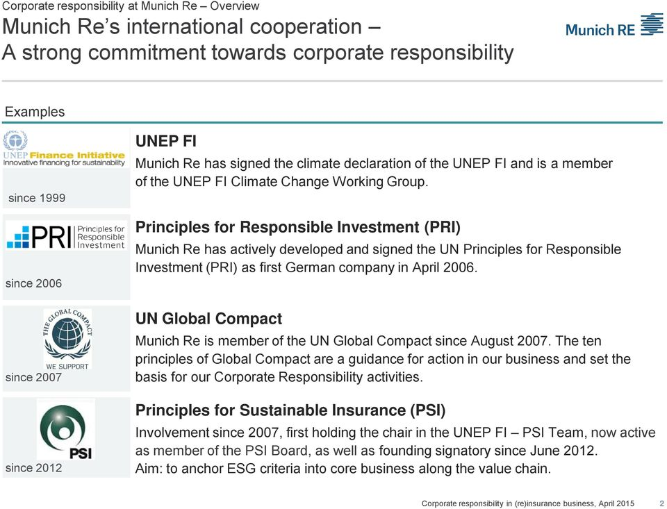 Principles for Responsible Investment (PRI) Munich Re has actively developed and signed the UN Principles for Responsible Investment (PRI) as first German company in April 2006.