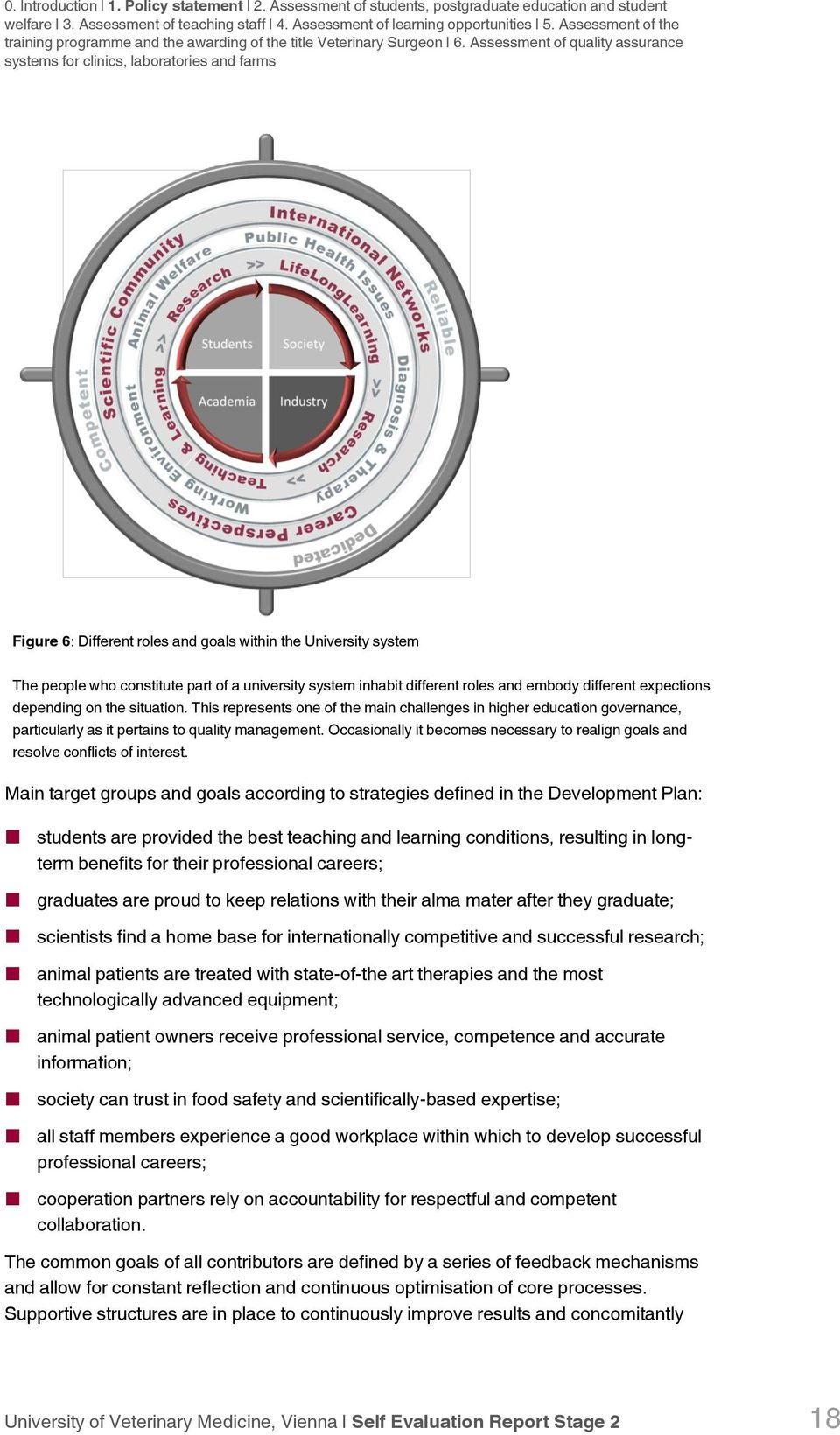 Assessment of quality assurance systems for clinics, laboratories and farms Figure 6: Different roles and goals within the University system The people who constitute part of a university system