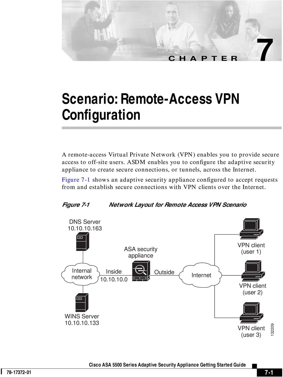 Figure 7-1 shows an adaptive security appliance configured to accept requests from and establish secure connections with VPN clients over the Internet.