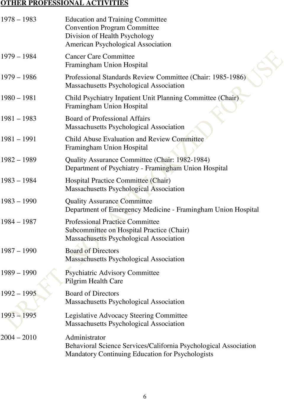 Evaluation and Review Committee 1982 1989 Quality Assurance Committee (Chair: 1982-1984) Department of Psychiatry - 1983 1984 Hospital Practice Committee (Chair) 1983 1990 Quality Assurance Committee