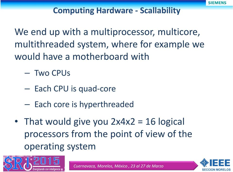 Two CPUs Each CPU is quad core Each core is hyperthreaded That would give
