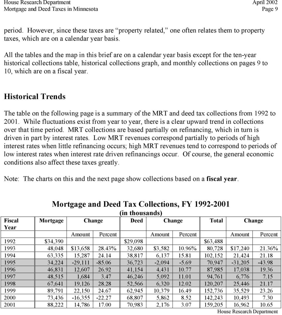 which are on a fiscal year. Historical Trends The table on the following page is a summary of the MRT and deed tax collections from 1992 to 2001.