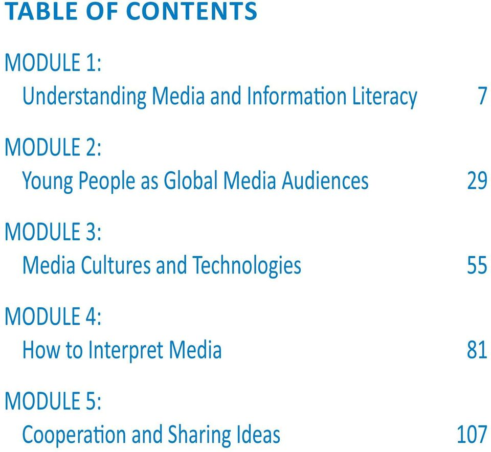 MODULE 3: Media Cultures and Technologies 55 MODULE 4: How to