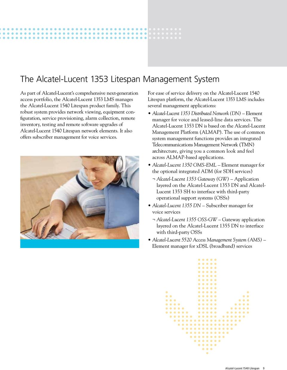 This robust system provides network viewing, equipment configuration, service provisioning, alarm collection, remote inventory, testing and remote software upgrades of Alcatel-Lucent 1540 Litespan