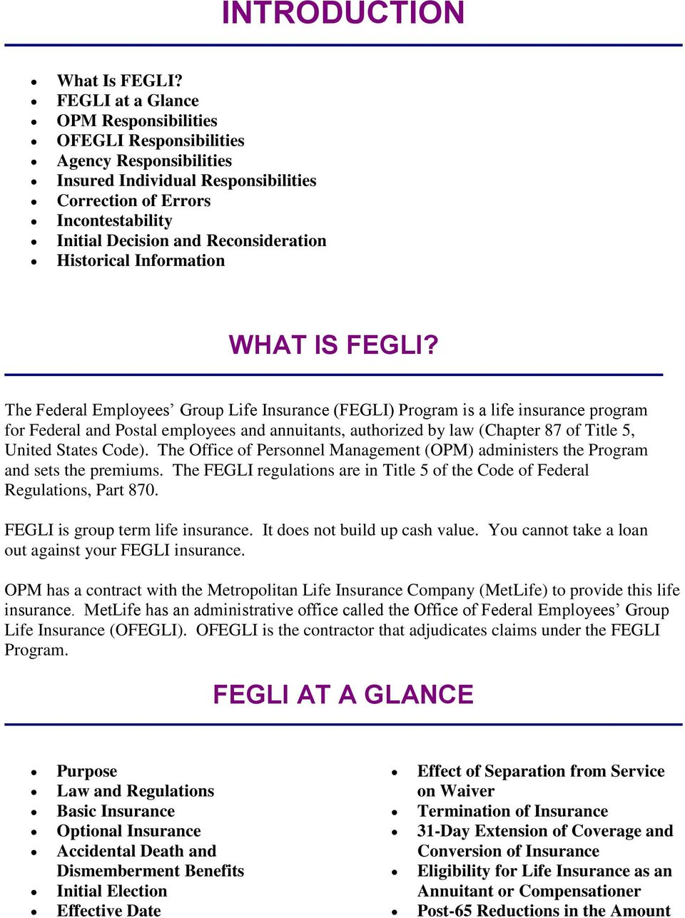 Historical Information WHAT IS FEGLI?