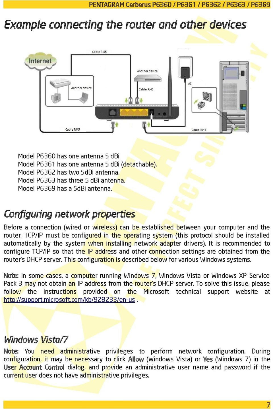 Configuring network properties Before a connection (wired or wireless) can be established between your computer and the router, TCP/IP must be configured in the operating system (this protocol should