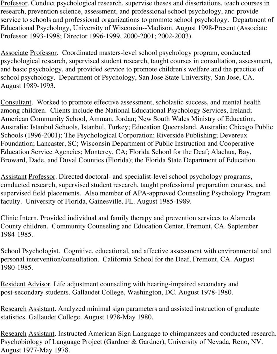 professional organizations to promote school psychology. Department of Educational Psychology, University of Wisconsin--Madison.