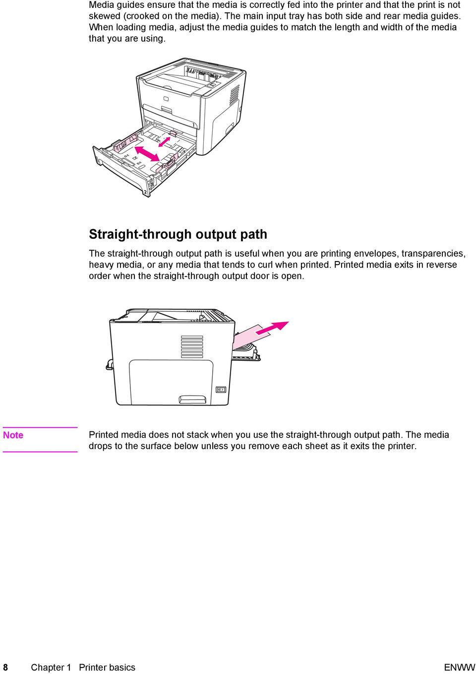 Straight-through output path The straight-through output path is useful when you are printing envelopes, transparencies, heavy media, or any media that tends to curl when printed.