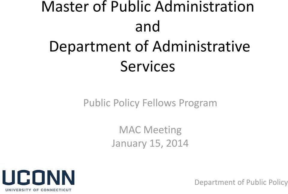 Services Public Policy Fellows