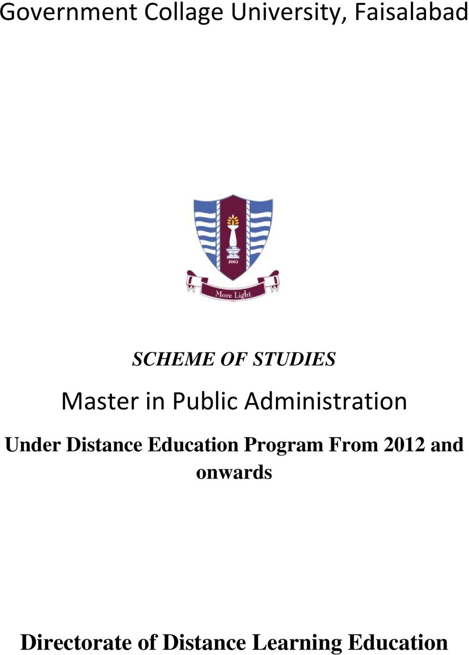 Administration Under Distance Education Program
