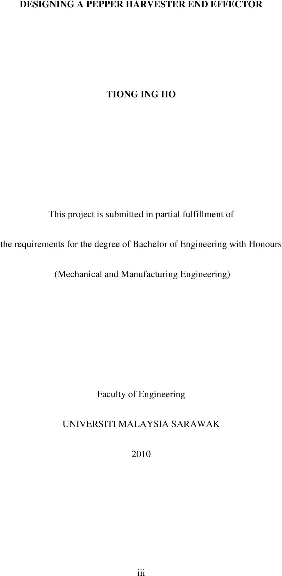 Bachelor of Engineering with Honours (Mechanical and Manufacturing