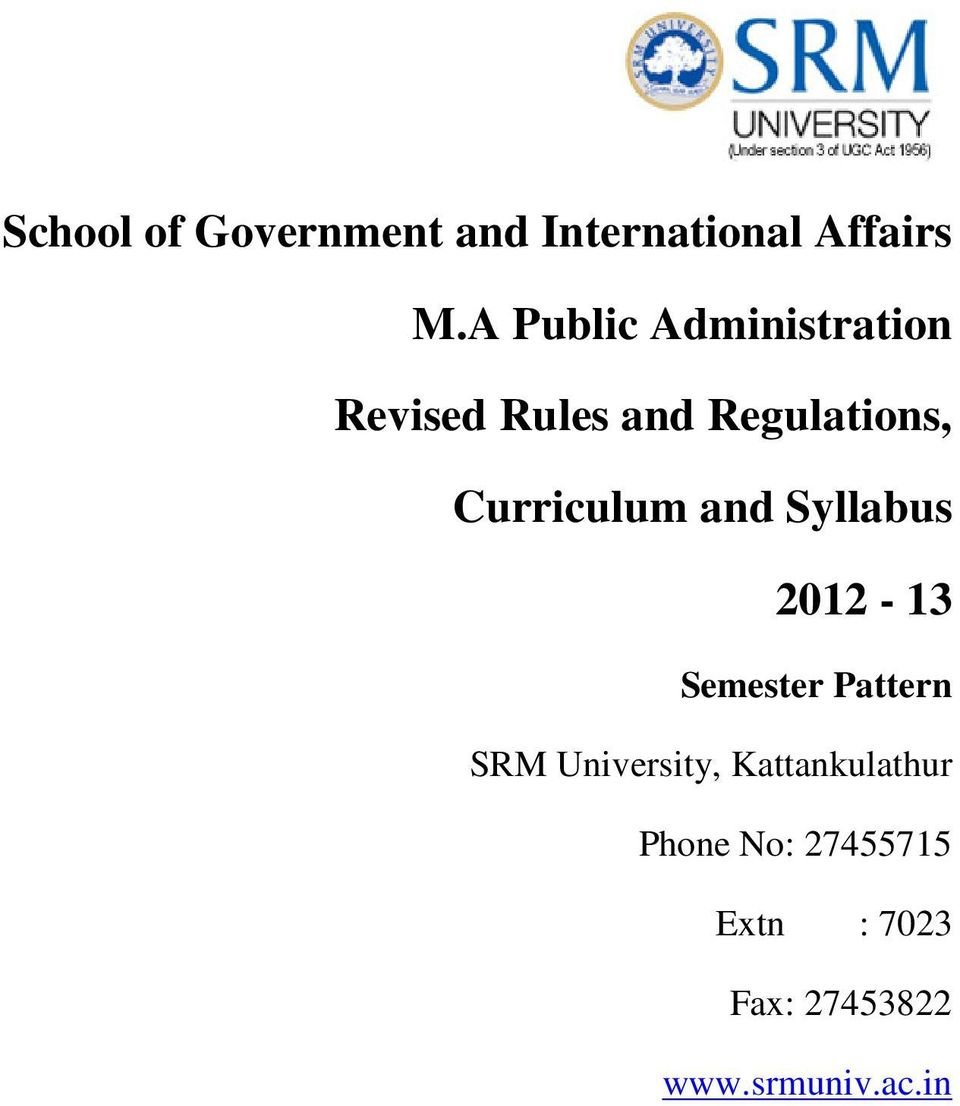Curriculum and Syllabus 2012-13 Semester Pattern SRM