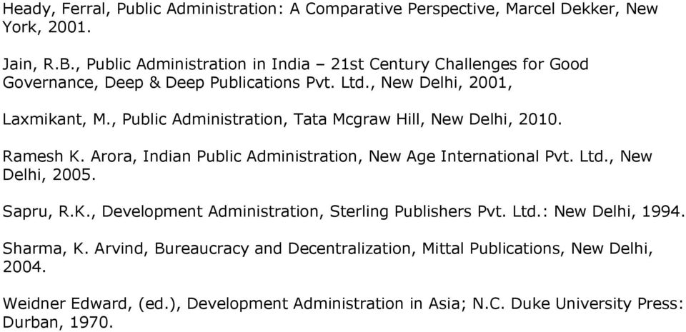, Public Administration, Tata Mcgraw Hill, New Delhi, 2010. Ramesh K. Arora, Indian Public Administration, New Age International Pvt. Ltd., New Delhi, 2005. Sapru, R.K., Development Administration, Sterling Publishers Pvt.