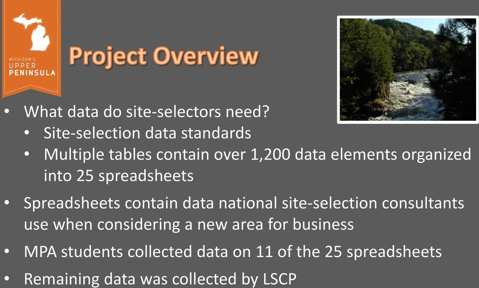 organized into 25 spreadsheets Spreadsheets contain data national site-selection