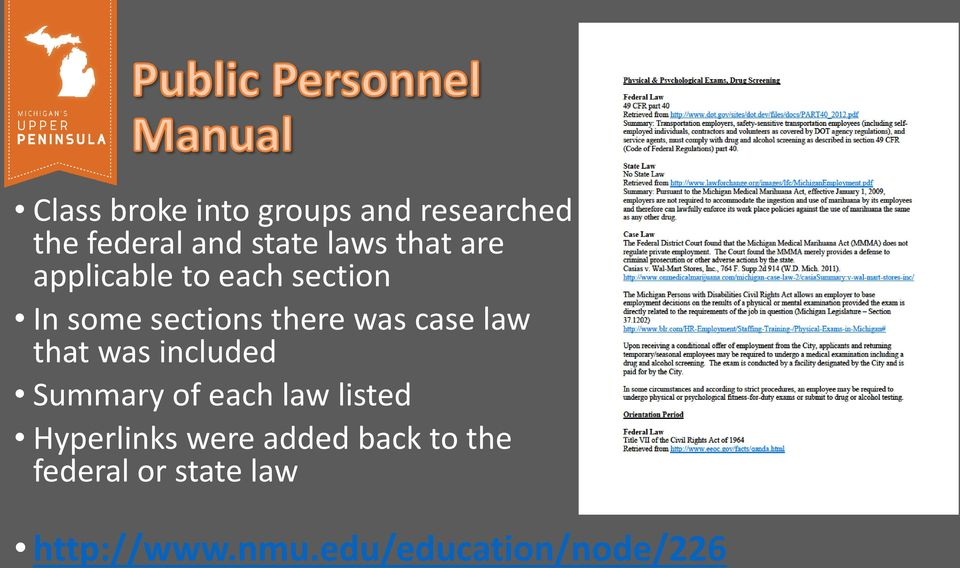 law that was included Summary of each law listed Hyperlinks were