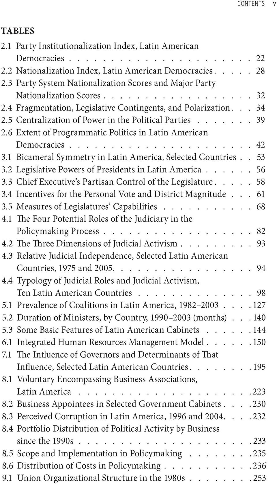 5 Centralization of Power in the Political Parties........ 39 2.6 Extent of Programmatic Politics in Latin American Democracies....................... 42 3.