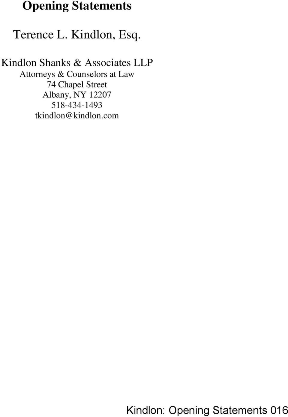Counselors at Law 74 Chapel Street Albany, NY 12207