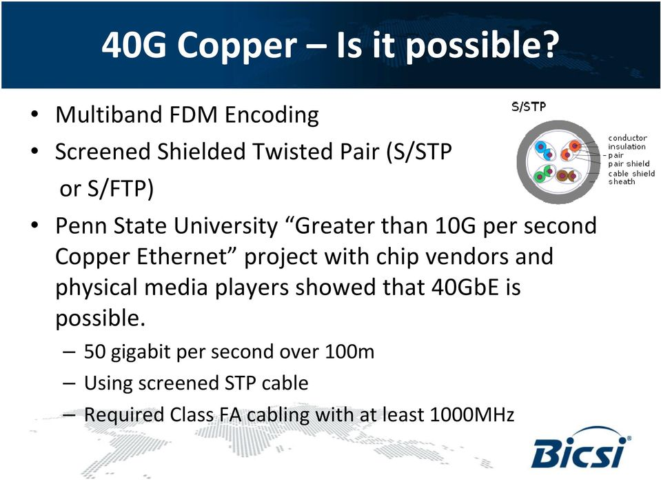 University Greater than 10G per second Copper Ethernet project with chip vendors and