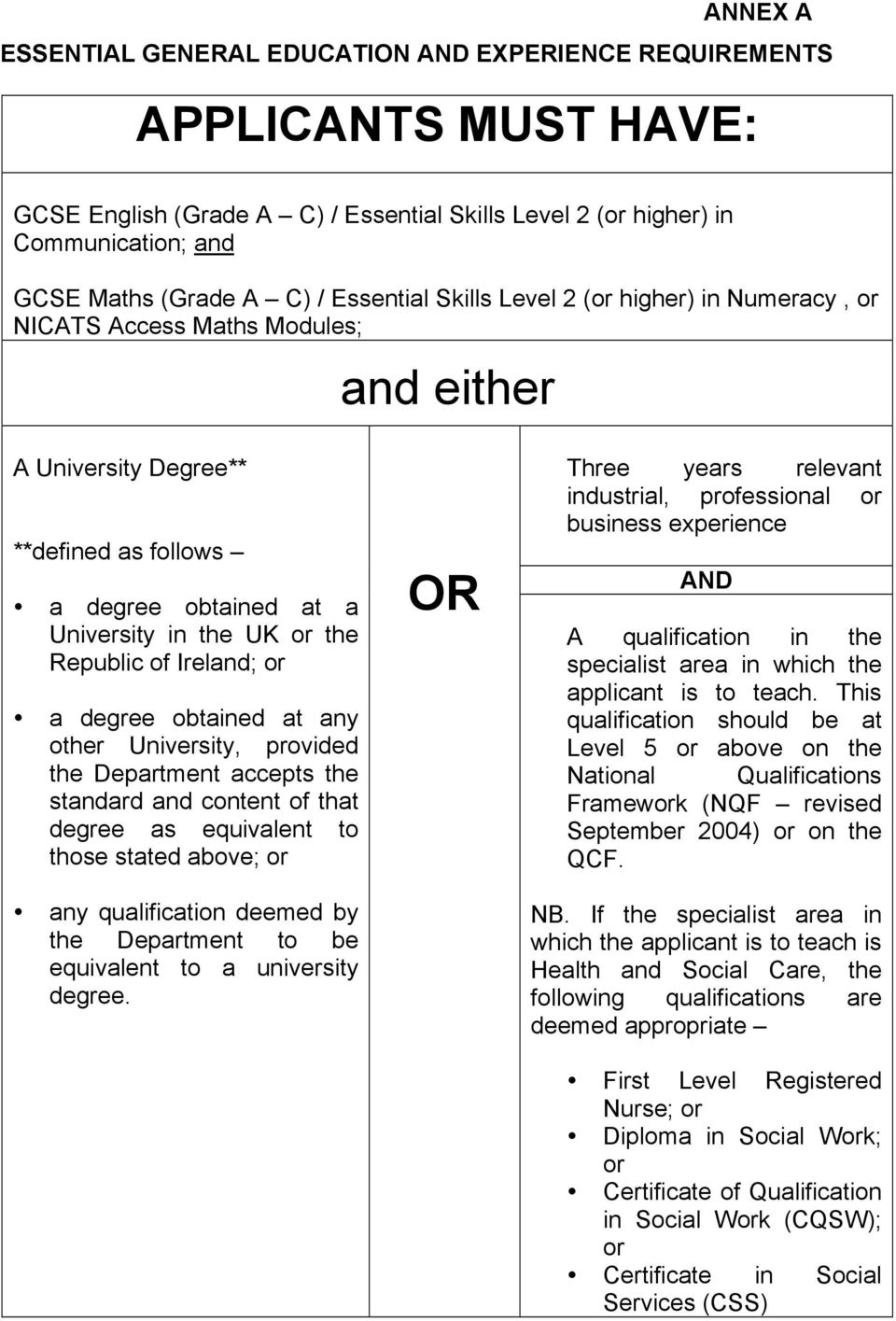 Ireland; or a degree obtained at any other University, provided the Department accepts the standard and content of that degree as equivalent to those stated above; or any qualification deemed by the