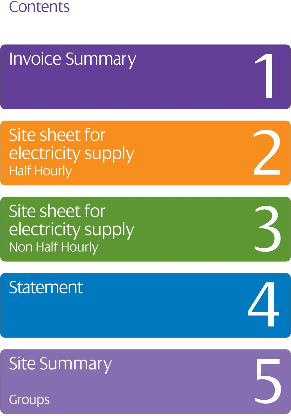 Site sheet for electricity supply Non