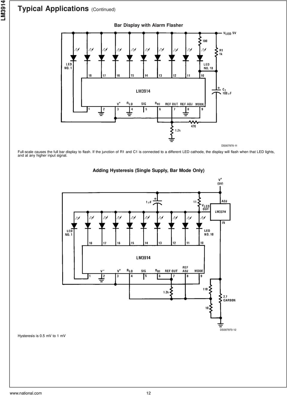 Lm3914 Dot Bar Display Driver Pdf Circuit Diagram Basic Low Voltage Latching Relay Driverhtml If The Junction Of R1 And C1 Is Connected To A Different Led Cathode