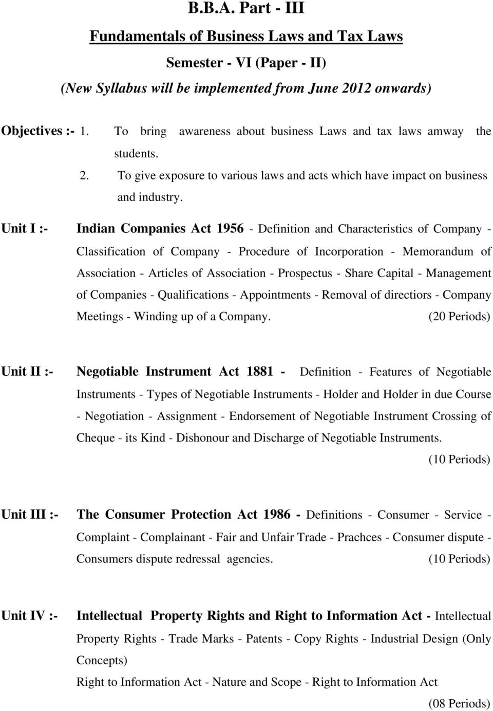Unit I :- Indian Companies Act 1956 - Definition and Characteristics of Company - Classification of Company - Procedure of Incorporation - Memorandum of Association - Articles of Association -