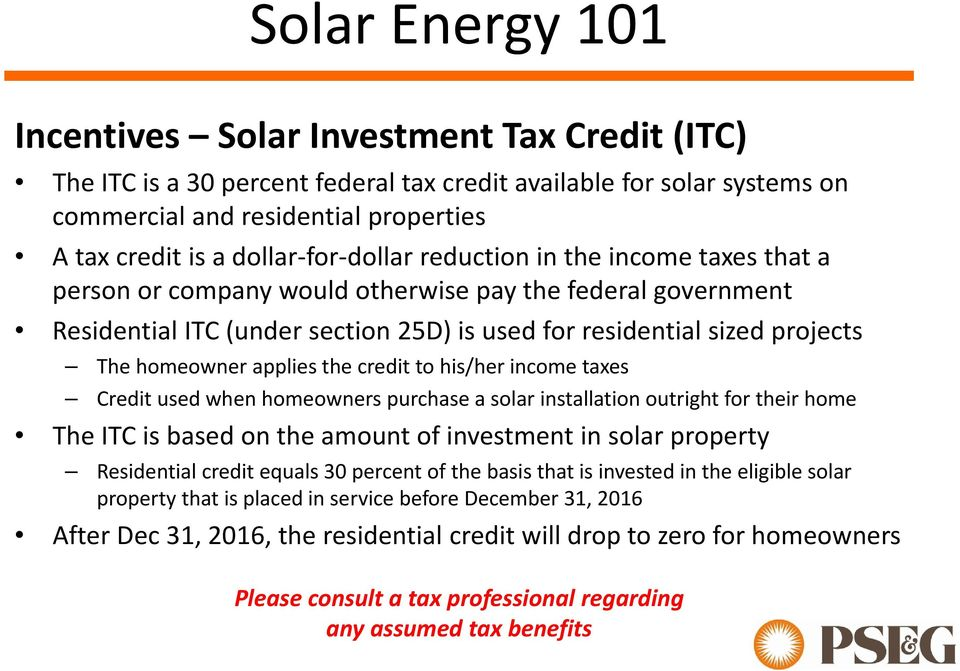 applies the credit to his/her income taxes Credit used when homeowners purchase a solar installation outright for their home The ITC is based on the amount of investment in solar property Residential
