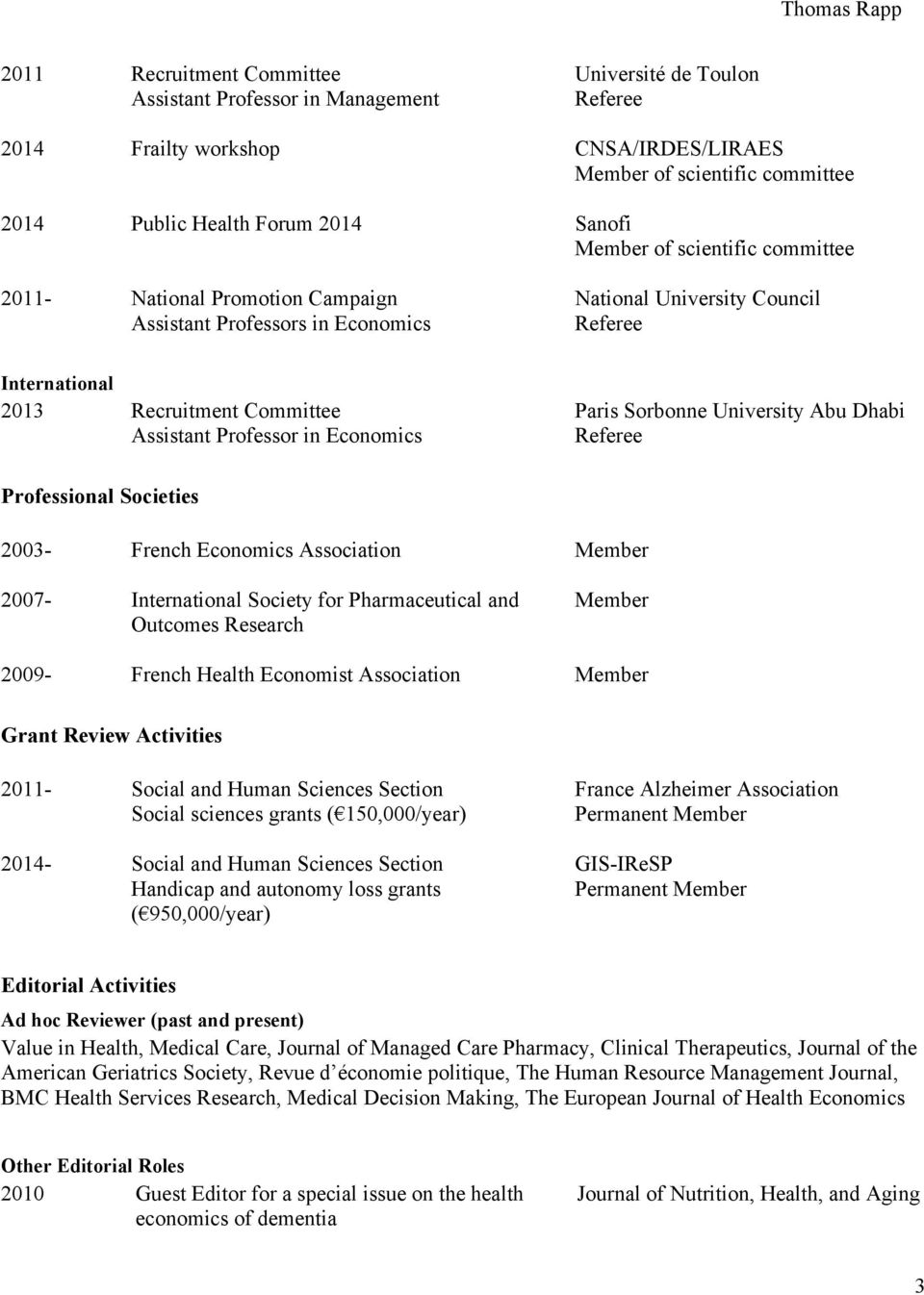 University Abu Dhabi Assistant Professor in Economics Referee Professional Societies 2003- French Economics Association Member 2007- International Society for Pharmaceutical and Outcomes Research