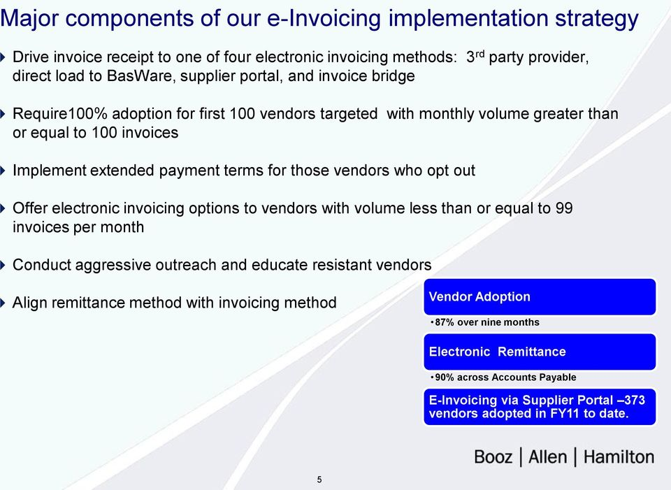 vendors who opt out Offer electronic invoicing options to vendors with volume less than or equal to 99 invoices per month Conduct aggressive outreach and educate resistant vendors Align
