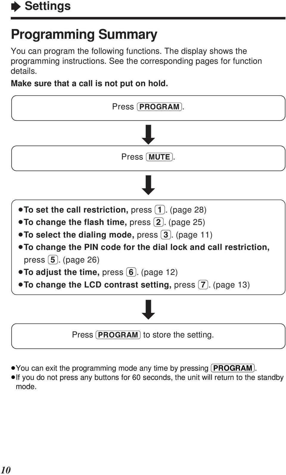 (page 5) To select the dialing mode, press (3). (page ) To change the PIN code for the dial lock and call restriction, press (5). (page 6) To adjust the time, press (6).